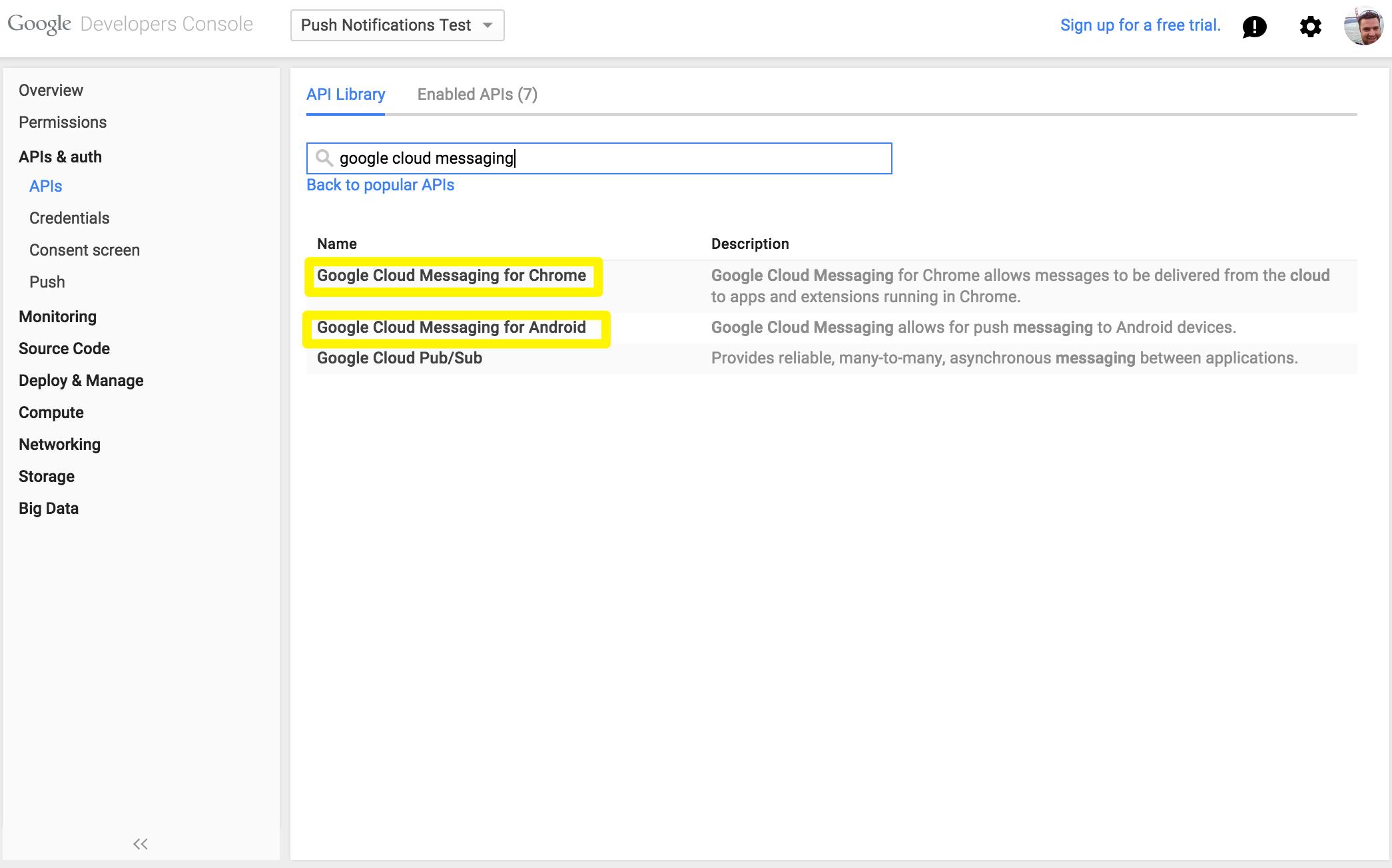 Enabled APIs screenshot